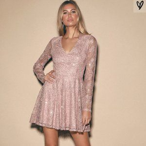 Lulus sweetly Admired Pink Sequin skater dress